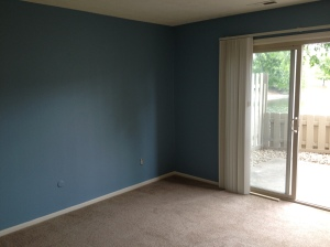 This is the living room. We painted it blue last Friday and love what it adds to the room!