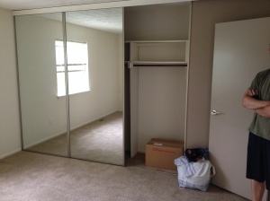 And HUGE closet space. Those mirrors slide and there is a closet lining the whole wall.