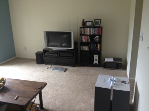 Still waiting to hang some wall art in the living room, and we'll also be getting a big rug for this room sometime this week.